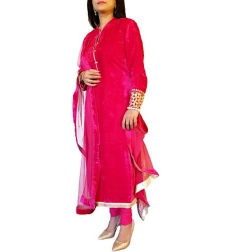 Pink Velvet Salwar Suit