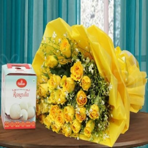 Rasgulla and Yellow Roses