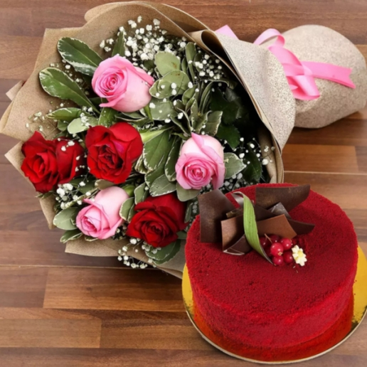 Pink and Red Roses with Red Velvet Cake