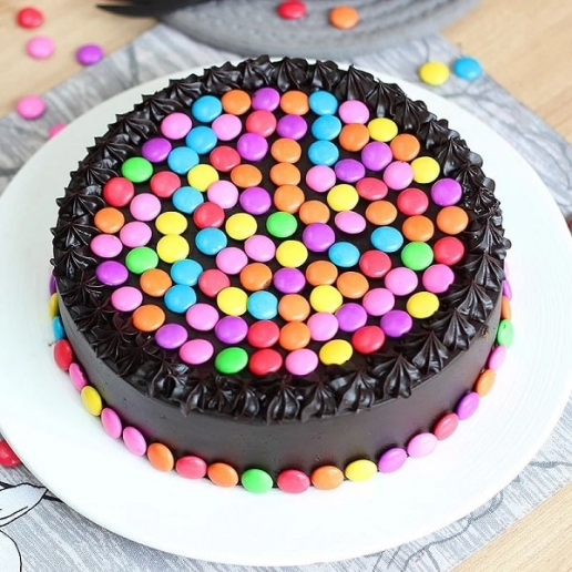 Round Chocolate Gems Cake
