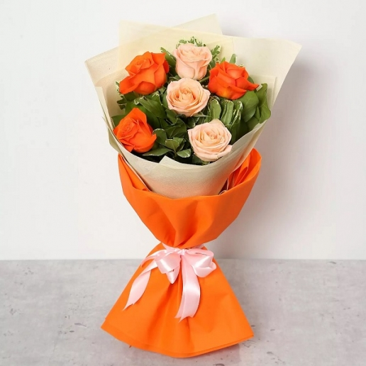 Orange and Peach Roses