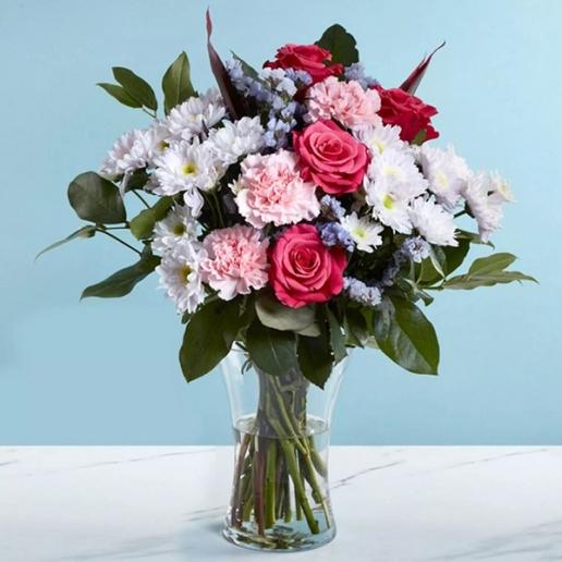 Pink and White Flower Vase