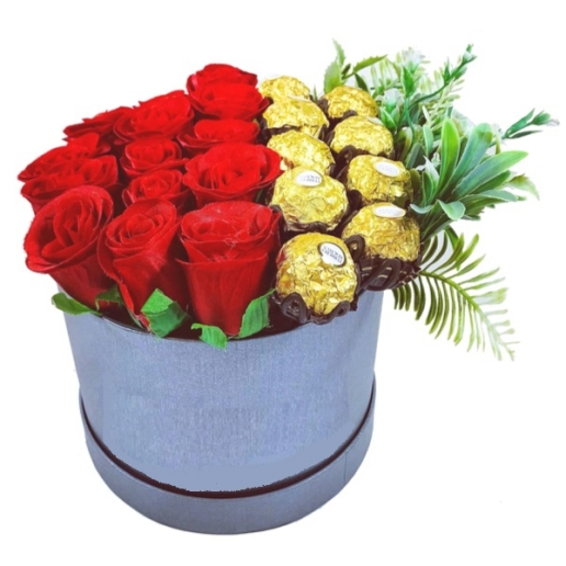 Display of Chocolates & Red Roses
