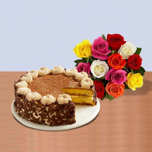 Tiramisu Cake with Bouquet
