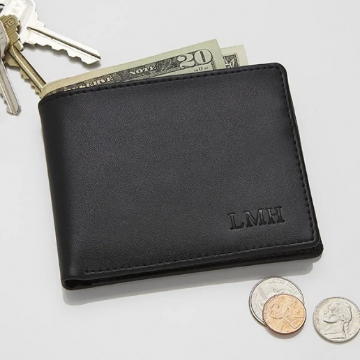 Personalized Leather Bi-Fold Wallet