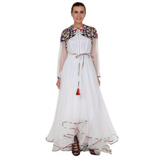 White Geometric Pattern Embroidered Trail Cut Dress