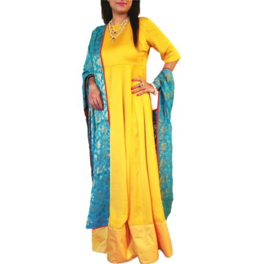 Yellow Anarkali suit with Dupatta